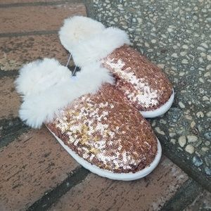Rose Gold Sequin Slippers with Faux Fur Lining